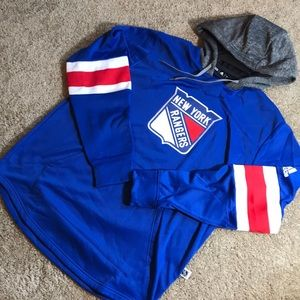 adidas NY Rangers Platinum Jersey Hoodie Sz L